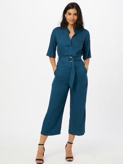 Closet London Jumpsuit 'Grandad' in de kleur Petrol, Modelweergave
