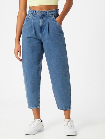 NU-IN Bandplooi jeans in de kleur Blauw denim, Modelweergave