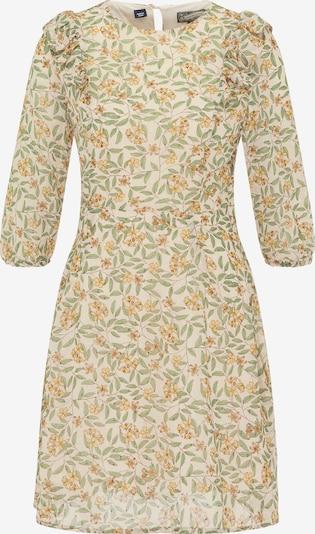 DreiMaster Vintage Robe d'été en crème / jaune / vert, Vue avec produit