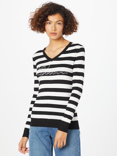 GUESS Pullover 'DORIANE' in schwarz / weiß, Modelansicht