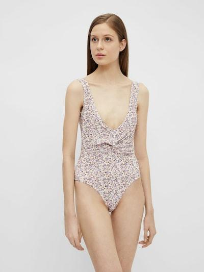 PIECES Badeanzug in beige / flieder / pastellpink, Modelansicht