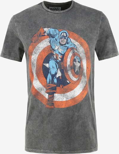 Recovered T-Shirt 'Marvel Captain America Shield' in blau / grau / rot / weiß, Produktansicht