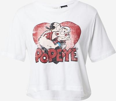 JDY T-shirt 'DONNA' en rouge foncé / noir / blanc, Vue avec produit