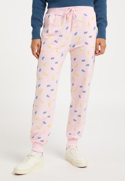 MYMO Pantalon en bleu clair / jaune pastel / rose clair, Vue avec modèle