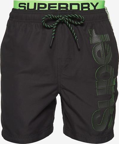 Superdry Zwemshorts in de kleur Neongroen / Zwart, Productweergave