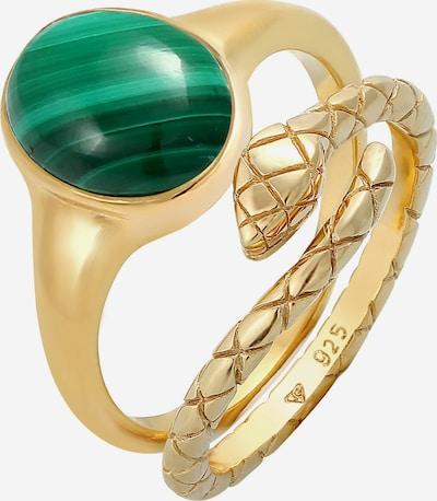ELLI PREMIUM Ring Edelstein Ring, Schlange in gold / grün, Produktansicht