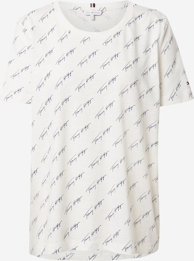 TOMMY HILFIGER Shirt 'TOMMY HILFIGER X ABOUT YOU AOP SCRIPT PRINT T-SHIRT' in beige / navy, Produktansicht