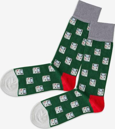 DillySocks Socken in dunkelgrün / knallrot / weiß, Produktansicht