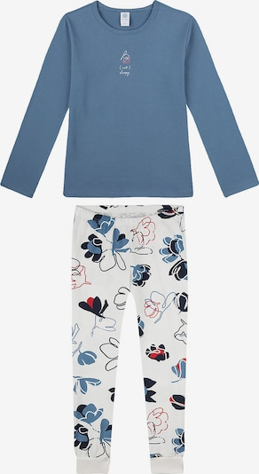 SANETTA Schlafanzug in taubenblau / hellrot / weiß, Produktansicht