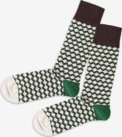 DillySocks Socken in creme / dunkelgrün / schwarz, Produktansicht