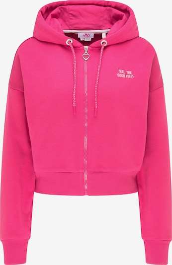MYMO Sweatjacke in pitaya / weiß, Produktansicht