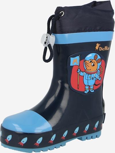 PLAYSHOES Botas de lluvia 'Die Maus Weltraum' en marino / azul claro / naranja / rojizo, Vista del producto