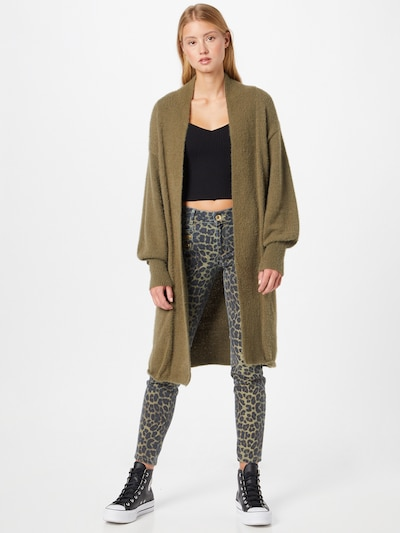 JDY Knitted Coat 'ALESSI' in Khaki, View model