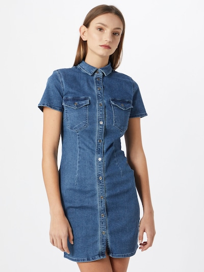 Noisy may Vestido camisero 'Joy' en azul denim, Vista del modelo