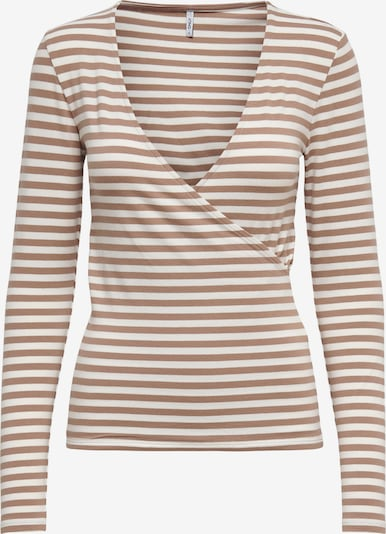 ONLY Shirt 'Joy' in hellbraun / weiß, Produktansicht