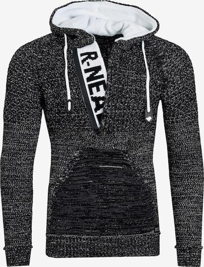 Rusty Neal Cooler Grobstrick-Pullover mit Kapuze in schwarz, Produktansicht