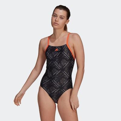 ADIDAS PERFORMANCE Maillot de bain sport en gris / orange / noir / blanc, Vue avec modèle