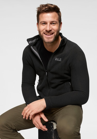 JACK WOLFSKIN Fleece jas 'MOONRISE' in de kleur Zwart: Vooraanzicht