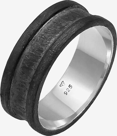 KUZZOI Ring Bandring in schwarz / silber, Produktansicht