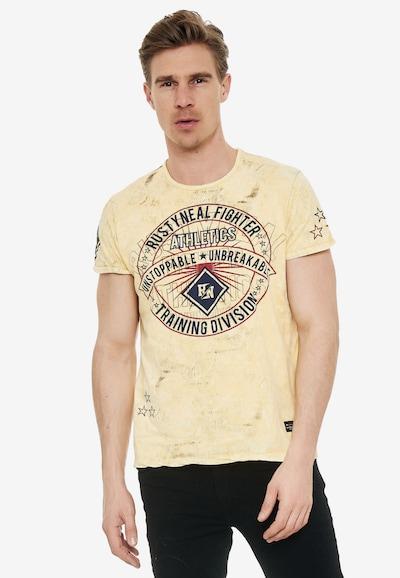 Rusty Neal T-Shirt mit großem Frontprint in gelb: Frontalansicht