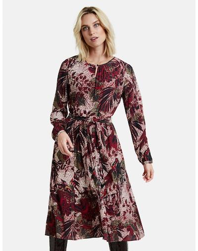 TAIFUN Kleid in khaki / kirschrot / schwarz / weiß, Modelansicht