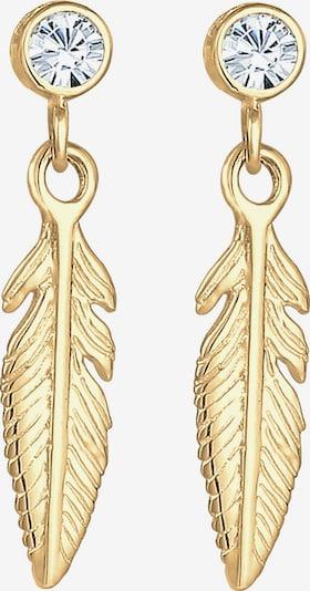 ELLI Boucles d'oreilles 'Feder, Solitär-Ohrring' en or, Vue avec produit