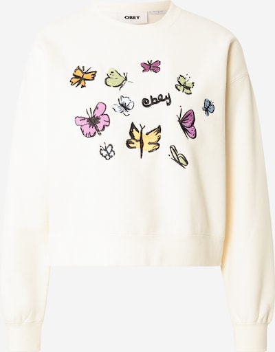 Obey Sweat-shirt en mélange de couleurs / blanc naturel, Vue avec produit