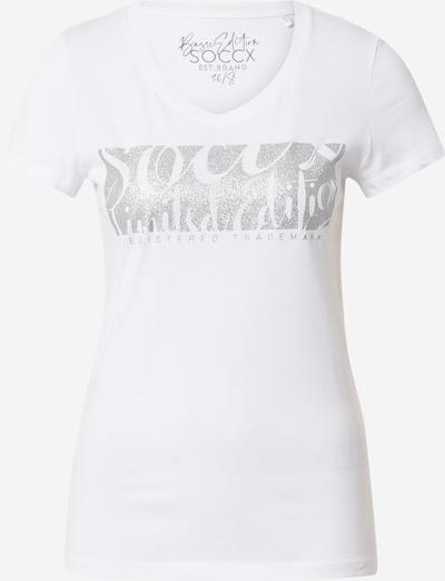 Tricou Soccx pe gri / alb, Vizualizare produs