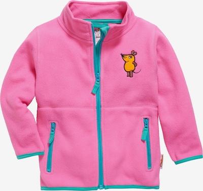 PLAYSHOES Fleecejacke 'DIE MAUS' in himmelblau / braun / hellorange / pink, Produktansicht