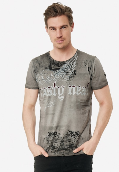 Rusty Neal Cooles T-Shirt mit Allover- Print in grau: Frontalansicht