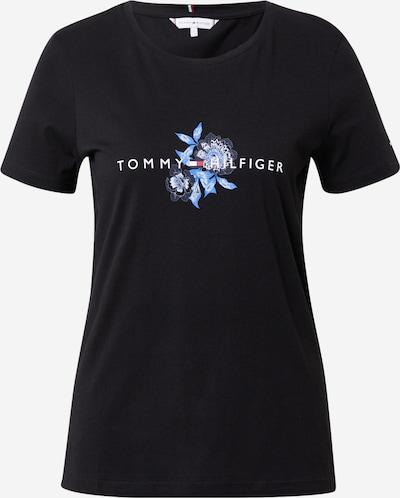 TOMMY HILFIGER Тениска в гълъбово синьо / светлосиньо / черно / бяло, Преглед на продукта