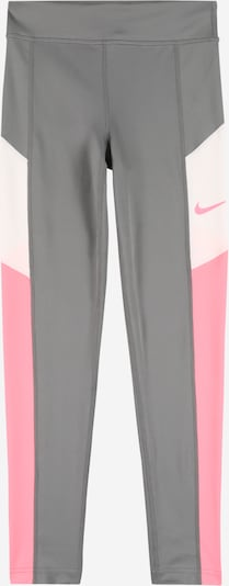 NIKE Pantalon de sport 'TROPHY' en gris foncé / rose / blanc, Vue avec produit