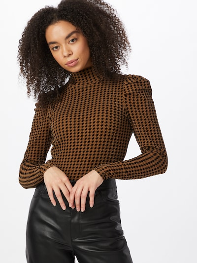 sötét barna / fekete Fashion Union Blúz body 'TEESHOO', Modell nézet