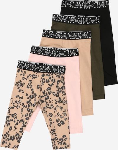 River Island Leggings in beige / khaki / rosa / schwarz / weiß, Produktansicht