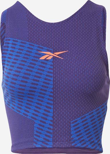 Sportiniai marškinėliai be rankovių iš Reebok Sport, spalva – mėlyna / tamsiai violetinė / šviesiai oranžinė, Prekių apžvalga