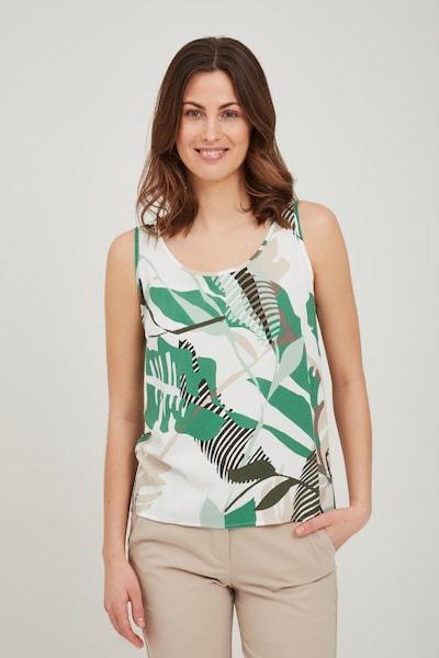 Fransa Blusenshirt in grün / weiß, Modelansicht