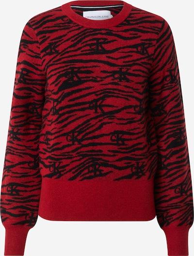 Calvin Klein Jeans Pullover 'ZEBRA' in rot / schwarz, Produktansicht