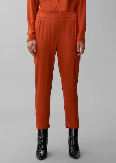 Marc O'Polo Pure Pantalon cargo en orange, Vue avec modèle