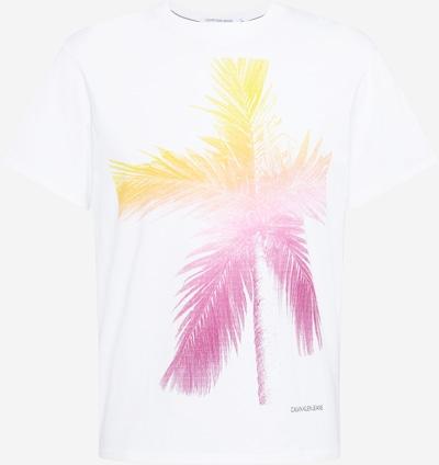 Calvin Klein Jeans Тениска в жълто / Графитено сиво / пастелно оранжево / бяло, Преглед на продукта