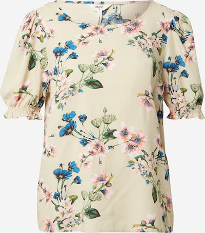 OBJECT Bluse in blau / hellgelb / grün / rosé, Produktansicht