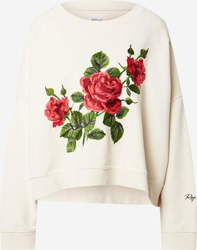 REPLAY Sweatshirt in creme / grün / rot, Produktansicht