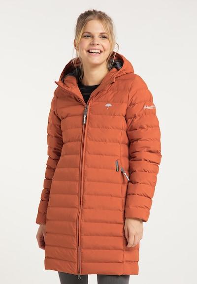 Schmuddelwedda Wintermantel in de kleur Sinaasappel, Modelweergave