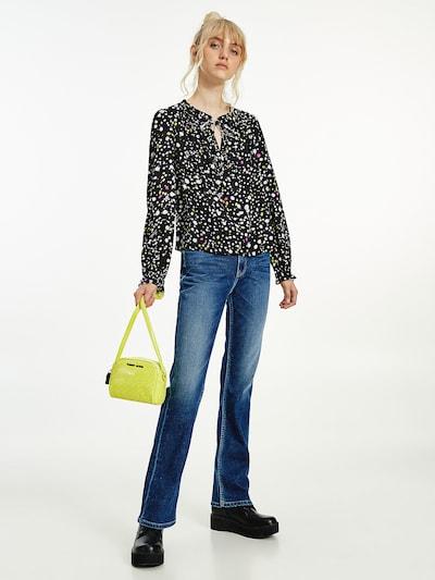 Tommy Jeans Bluse in gelb / pink / schwarz / weiß, Modelansicht