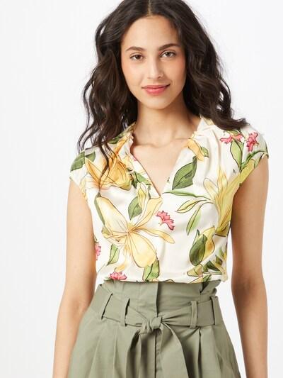 COMMA Bluse in hellgelb / grün / rosa / weiß, Modelansicht