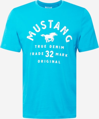 MUSTANG T-Shirt 'Alex' in türkis / weiß, Produktansicht
