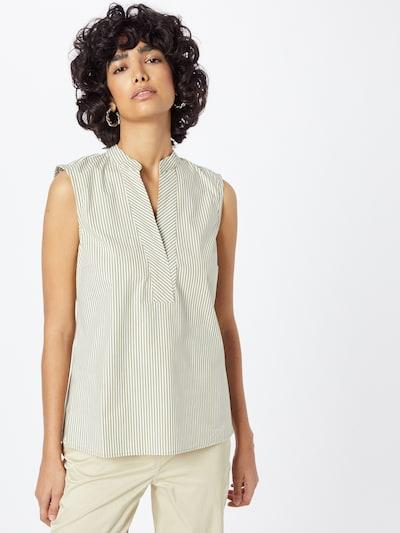 MORE & MORE Bluse in oliv / weiß, Modelansicht