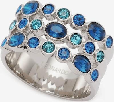 LEONARDO Fingerring in blau / türkis / silber, Produktansicht
