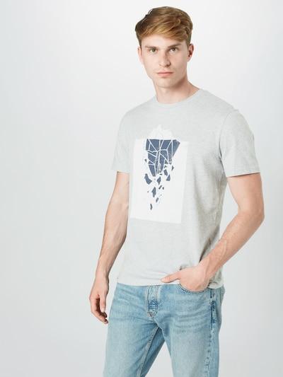 ARMEDANGELS Majica 'Jaames Iceberg' u kobalt plava / siva melange / bijela: Prednji pogled