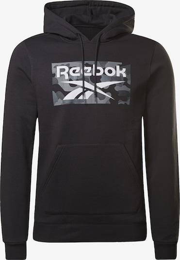 REEBOK Sportsweatshirt in hellgrau / dunkelgrau / schwarz / weiß, Produktansicht