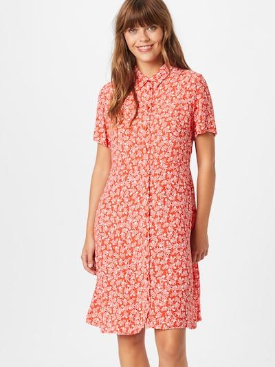 PIECES Kleid 'Rebecca' in orangerot / weiß, Modelansicht